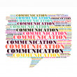 Stock Photo: Communication text collage Composed in shape of callout