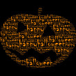 Stock Photo: Happy halloween text collage Composed in shape of cucurbit