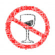 Stock Photo: No alcohol text collage Composed in shape of no alcohol sign isolated on white