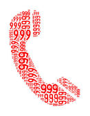 999 text collage Composed in the shape of telephone an isolated on white — Stock Photo