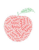 Apple text collage Composed in the shape of apple — Stockfoto