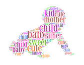 Kid cute father mother baby child sweet text collage Composed in the shape of baby an isolated on white — Stock Photo