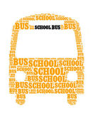 School bus collage Composed in the shape of bus — Stock Photo