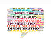Communication text collage Composed in the shape of callout — Stock Photo