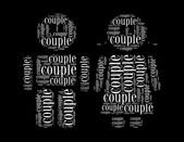 Coupletext collage Composed in the shape of girl and boy — Stock Photo