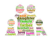 Family info text collage Composed in the shape of man female and kids an i solated on white — Stock Photo