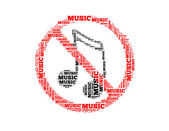 No music text collage Composed in the shape of no music sign an isolated on white — Stock Photo