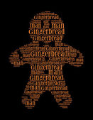 Gingerbread man text collage Composed in the shape of gingerbread man — Stock Photo