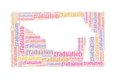 Graduatio text collage Composed in the shape of graduation cap — Stock Photo