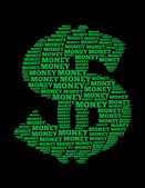 Money text collage Composed in the shape of dollar sign — Stock Photo