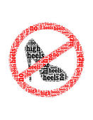 No high heels text collage Composed in the shape of no high heels sign an isolated on white — Stock Photo