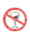 No alcohol text collage Composed in the shape of no alcohol sign an isolated on white — Stockfoto