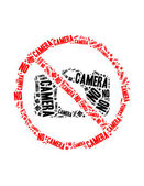 No camera text collage Composed in the shape of no camera sign an isolated on white — Stock Photo