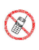 No cell phone text collage Composed in the shape of no cell phone sign an isolated on white — Stock Photo