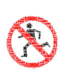 No running text collage Composed in the shape of no running sign an isolated on white — Stock Photo