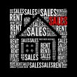 Sales rent text collage Composed in the shape of house - Stock Photo