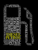 Diesel petrol text collage Composed in the shape of fuel — Stock Photo