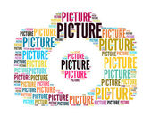 Picture text collage Composed in the shape of camera an isolated on white — Stockfoto
