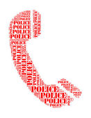Police text collage Composed in the shape of telephone an isolated on white — Stock Photo