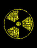 Radioactive text collage Composed in the shape of radioactive sign — Stock Photo
