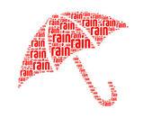 Pioggia testo collage composto a forma di ombrello un isolato su bianco — Foto Stock