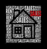 Sales rent text collage Composed in the shape of house — Stockfoto
