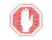 Stop text collage Composed in the shape of No entry hand sign an isolated on white — Stock Photo