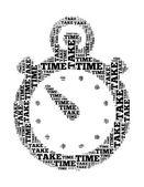 Prendere tempo collage testo composto a forma di cronometro un isolato su bianco — Foto Stock
