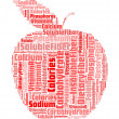 Apple with info nutrition-text graphics and arrangement concept — Stock Photo