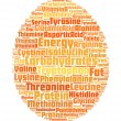Egg shape with info nutrition-text graphics and arrangement conc — Stock Photo
