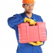 Asian worker complete with personal protective equipment and too — Stock Photo #18695541