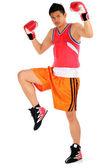 Giovane asiatica nel passaggio di boxe pronto a combattere — Foto Stock
