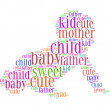 Stock Photo: Kid cute father mother baby child sweet text collage Composed in shape of baby isolated on white