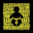 Stock Photo: Baby on bord text collage Composed in shape of baby