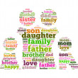 Family info text collage Composed in the shape of man female and kids an i solated on white - Stock Photo