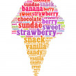 Royalty-Free Stock Photo: Ice cream info text collage Composed in the shape of ice cream