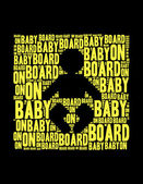 Baby on bord text collage Composed in the shape of baby — Stock Photo