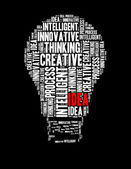 Idea info text collage Composed in the shape of bulb — Stock Photo