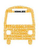 Bus van de school collage samengesteld in de vorm van bus — Stockfoto