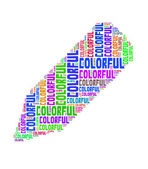 Colorful text collage Composed in the shape of pencil an isolated white background — Stock fotografie