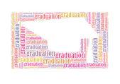 Graduatio text collage Composed in the shape of graduation cap — Stock Photo