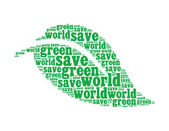 World info text collage Composed in the shape of leaf an isolated on white — Stock Photo