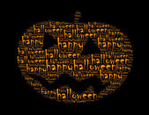 Happy halloween text collage Composed in the shape of cucurbit — Stock Photo