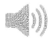 Lyssnande text collage består i form av högtalare en isolerad på vit — Stockfoto