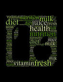 Diet juice nutrition milk vitamin health text collage Composed in the shape of bottle and apple — Stock Photo