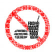 No food text collage Composed in the shape of no food sign an isolated on white — Stock Photo