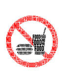No food text collage Composed in the shape of no food sign an isolated on white — Stock fotografie