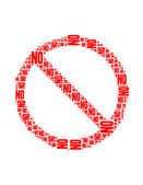 No text collage Composed in the shape of Not Allowed Sign an isolated on white — Stock Photo