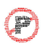 Parking text collage Composed in the shape of red sign an isolated white background. — Stock Photo