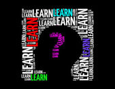 Learn text collage Composed in the shape of human head — Stock Photo